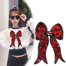 Patches for clothing T shirt Women 310mm Bow tie Sequined Sequins T-shirt Womens Fashion Tops Shirt Girl Patch Clothes недорого