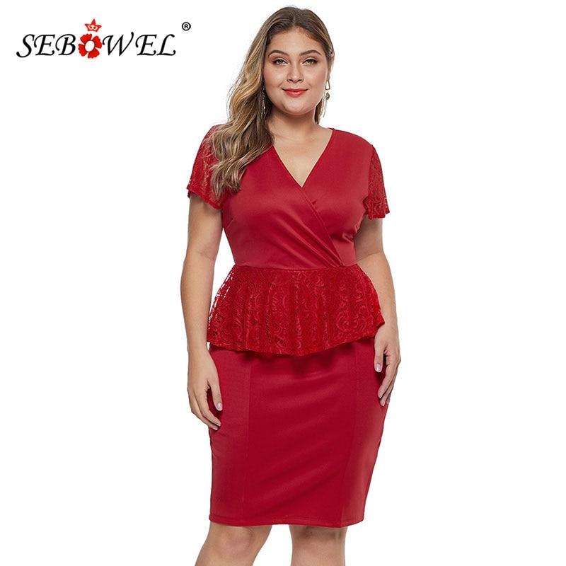 US $17.99 40% OFF SEBOWEL Plus Size Red Floral Lace Peplum Dresses Woman  Summer Elegant Short Sleeve Ruffles Black Party Big Size Bodycon Dress-in  ...