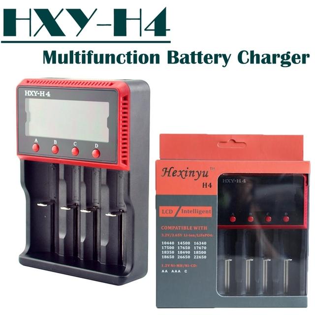 Frete grátis! hxy-h4 smart 4 slot lcd para li-ion lifepo4 baterias nicd carregador de bateria ni-hm