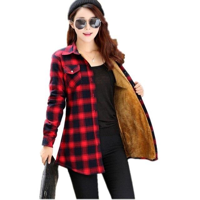 9273a83c10 Mulheres Camisa De Veludo Grosso Camisa Xadrez Feminino Manga Longa Tops  Tamanho lager Cheque Inverno Blusa