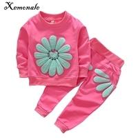 2016 Spring Autumn 1 4Y Children Girl Clothing Set Baby Girls Sports Sunflower Suit Toddler Babies
