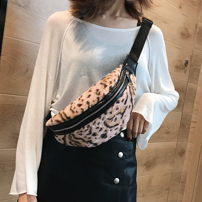 2018 Women Waist Bag Leopard Bag Autumn Winter Faux Fur Fanny Pack Bananka Women Money Waist Pouch Travel Leisure Belt Chest Bag