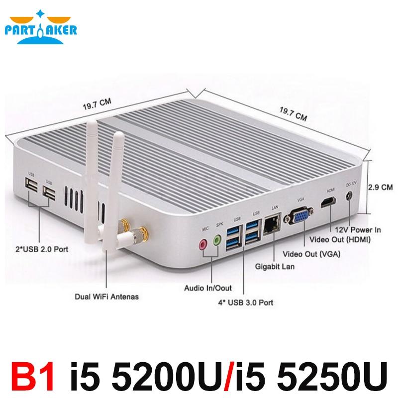 Broadwell Fanless Mini PC i5 5250U i5 5200U Intel HD Graphics 6000/5500 4K HDMI VGA USB Windows 10 Mini Computer TV Box intel boxnuc5i5ryk i5 5250u 1 6ghz 2xddr3 sata intel hd 6000 bluetooth wi fi gblan 4xusb 3 0 minihdmi boxnuc5i5ryk 936793