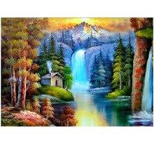 Diamond embroidery Forest Waterfalls round diamond mosaic cross stitch house unfinished decorative  painting landscape