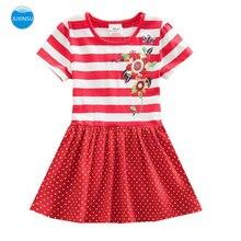 JUXINSU Toddler Girls Short Sleeved Dress for Kids Baby Summer Cotton Flower Stripes Girl 1-8 Years