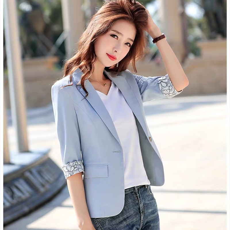Spring Autumn Suit Jacket Seven-point Sleeve Short Section Women's New Fashion Casual Slim White Collar Work Clothes  Jacket