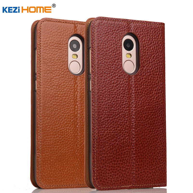 Case For Xiaomi Redmi Note 4 KEZiHOME Genuine Leather Case Flip Stand Leather For Xiaomi Redmi
