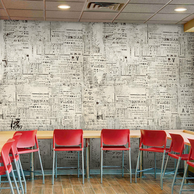 Custom American English newspaper retro vintage 3D wallpaper background clothing store large mural den Cafe Bar 3D wallpaper custom 3d mural clothing store ktv bar sofa tv background cement brick wall graffiti art retro industrial wind mural wallpaper