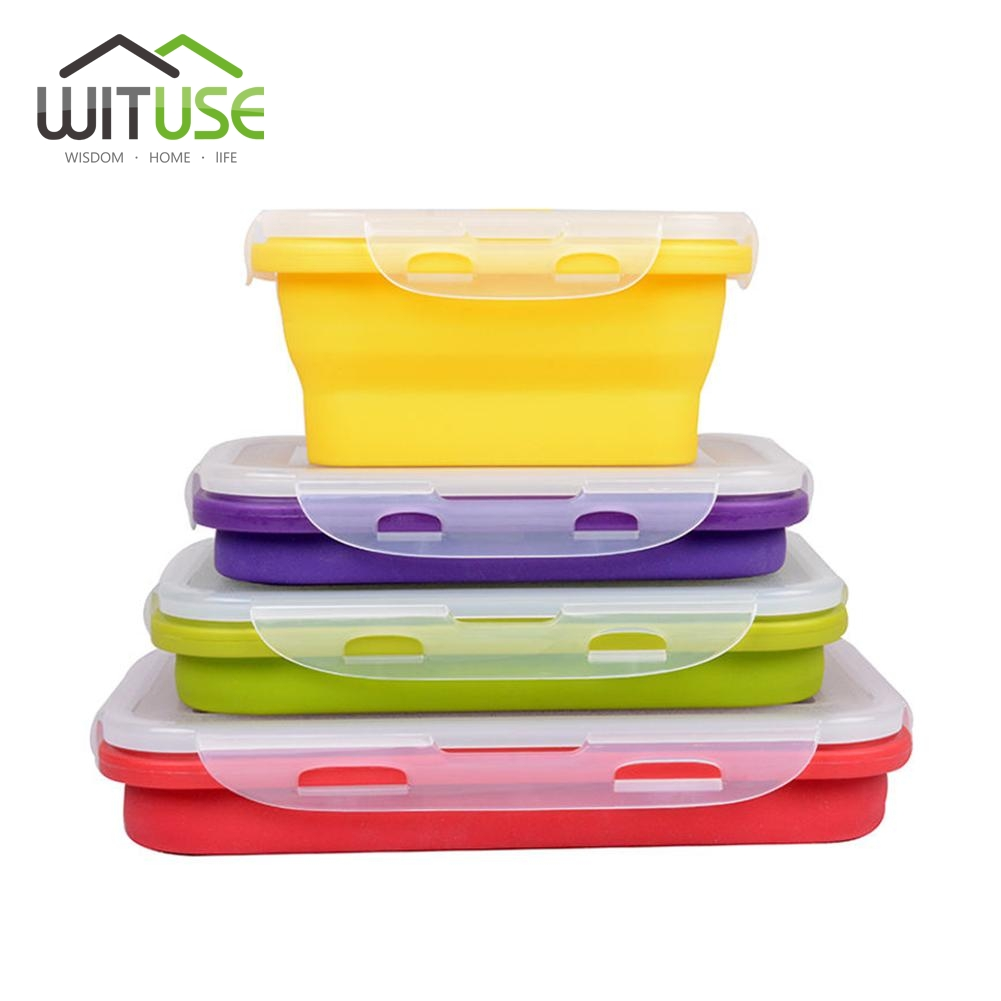 2017 New Silicone Collapsible Portable LunchBox Bowl Bento Boxes Folding Food Storage Container Lunchbox 350-1200ml Eco-Friendly