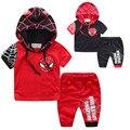 Hapi Woo Meninos Verão conjuntos de roupas esporte do bebê menino terno define fatos de treino de algodão das Crianças do homem aranha com capuz casacos/casacos + shorts