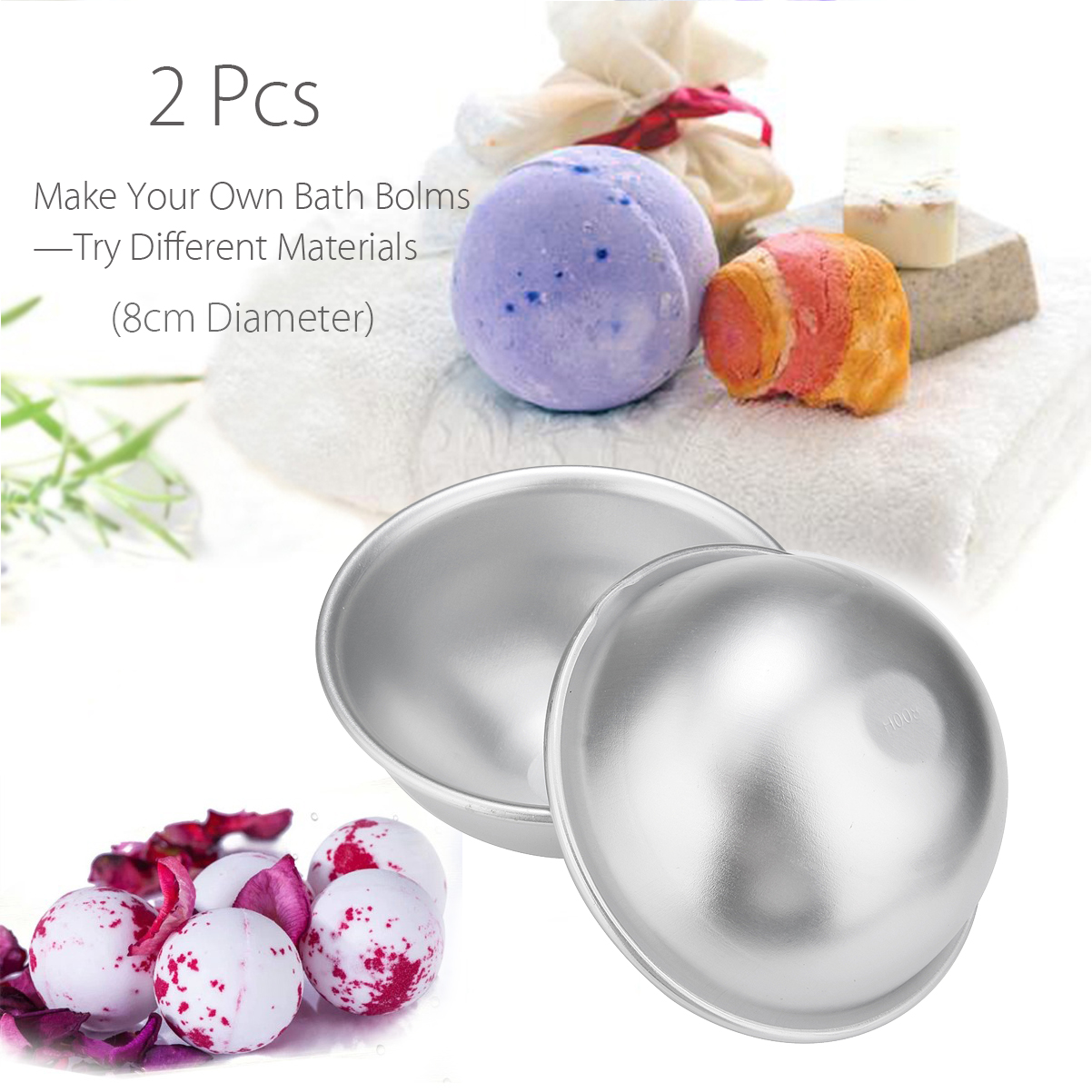 1 Pair 8cm 3D Metal Ball Sphere Shape Bath Bomb Mold Bath Bomb Ball Maker Handmade Ball Mould Manual DIY Bathing Tool Accessorie