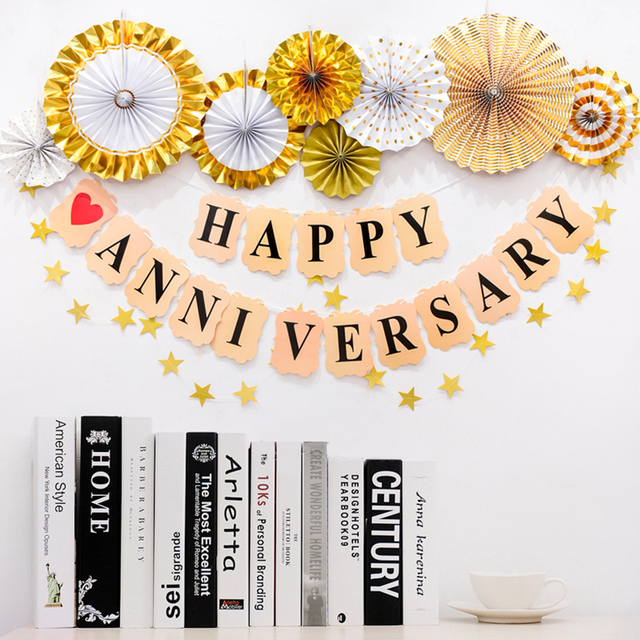 1set happy anniversary banner paper garland flags foil balloon