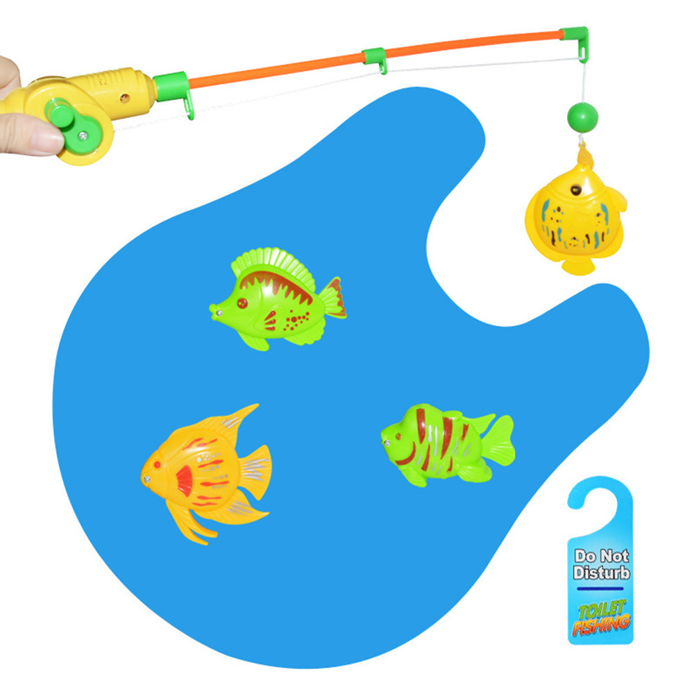 Fish N Flush Toilet Fishing Game Potty Time Magnetic Fish Set for Adults Kids