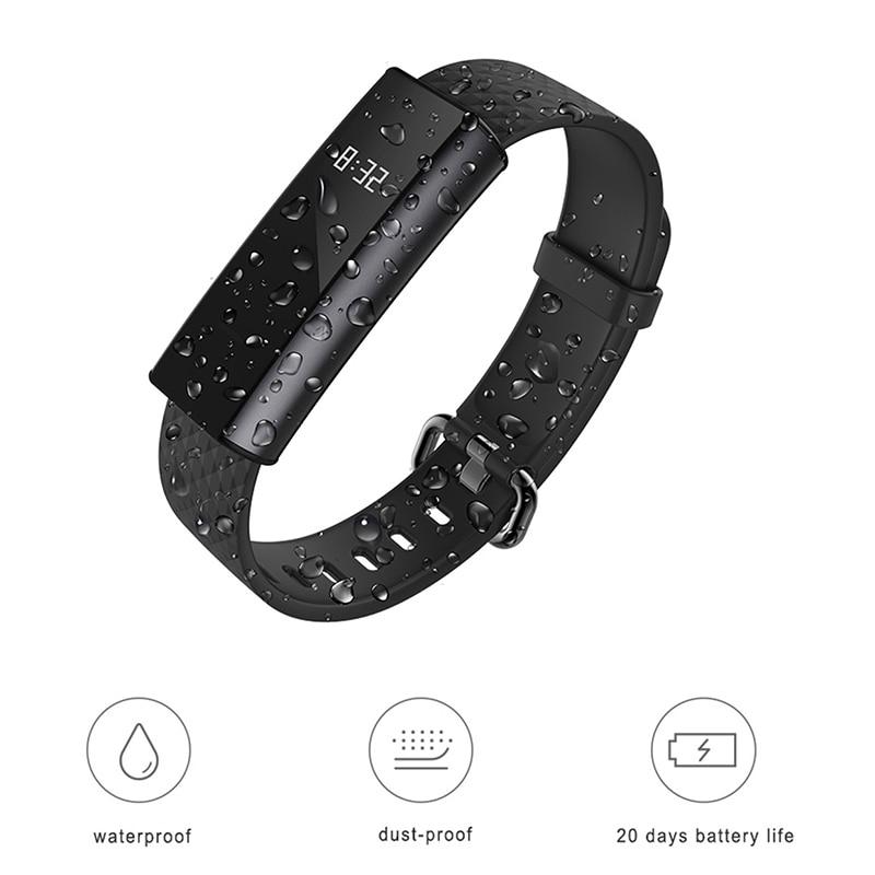 Versión en inglés Huami AMAZFIT arco banda inteligente Bluetooth 4,0 impermeable pulsera rastreador de sueño Monitor de ritmo cardíaco