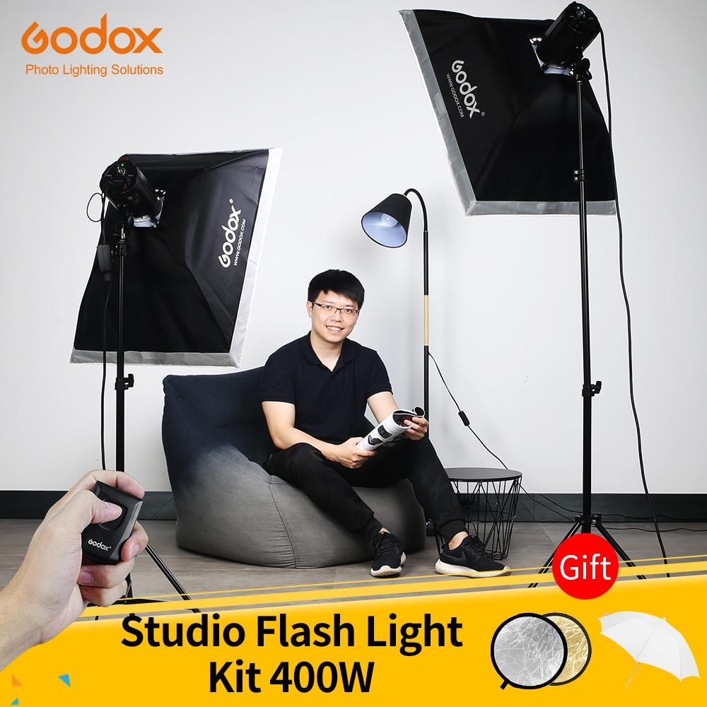 Godox 400Ws Strobe Studio Flash Light Kit 2pcs 200Ws Photographic Lighting Strobes Light Stands Triggers Soft