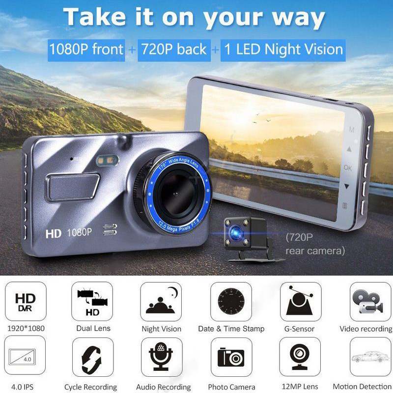 4 pouces original HD 1080 P 170 degrés dans la voiture DVR double lentille Sprint Cam caméra de bord noir Vision nocturne G capteur LCD multilingue