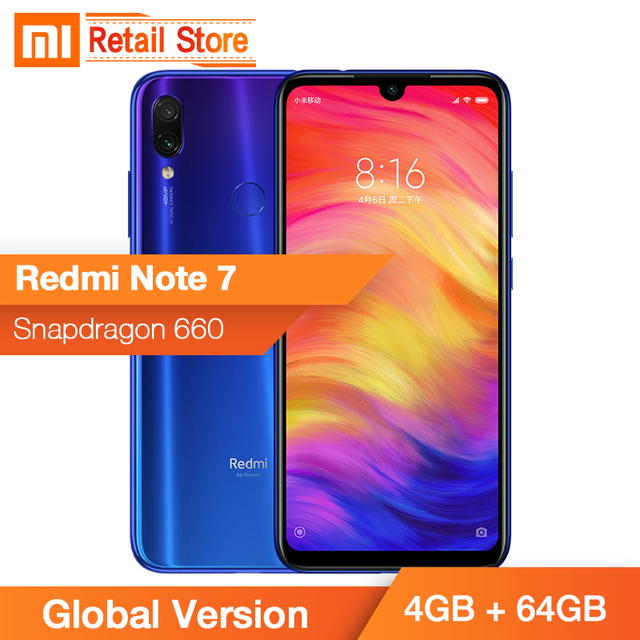 Global Version Xiaomi Redmi Note 7 4GB 64GB Smartphone Snapdragon 660 48MP Water Drop Screen 13MP Mobile Phone 4000mAh xiomi
