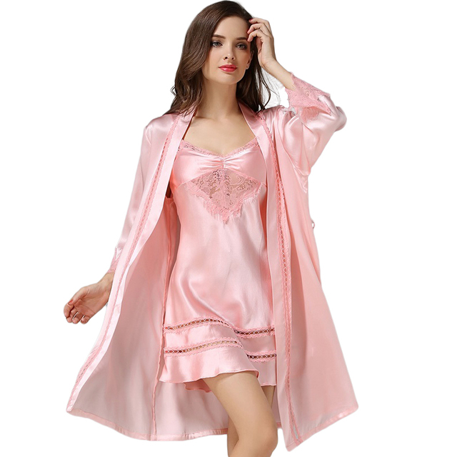 41e6b731e New 100% Silk Satin Solid Women Robe   Gown Sets Women s Bathrobe Sexy  Robes with