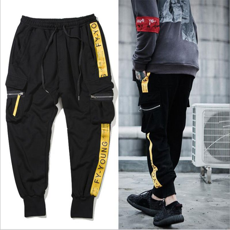 Men Hip Hop Joggers Sweatpant Yellow Ribbon Side Striped Pants 100 Cotton Sweat Pant