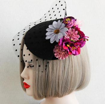 New Woman Lady Flowers Lace Veil Top Hair Clips Bridal Mini Top Hat Clip Lolita Burlesque Fascinator Hair Accessories 1