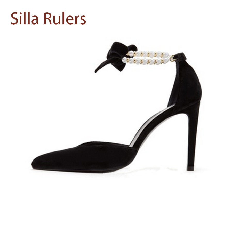 Silla Rulers Pearl Ankle Strap Fashion Women Party Shoes Pointed Toe Stiletto Heel Pumps Butterfly-knot Hollow Lady Sandals Shoe meotina shoes women sandals summer sexy stiletto high heel sandals open toe ankle strap party pumps lady shoes purple size 34 43