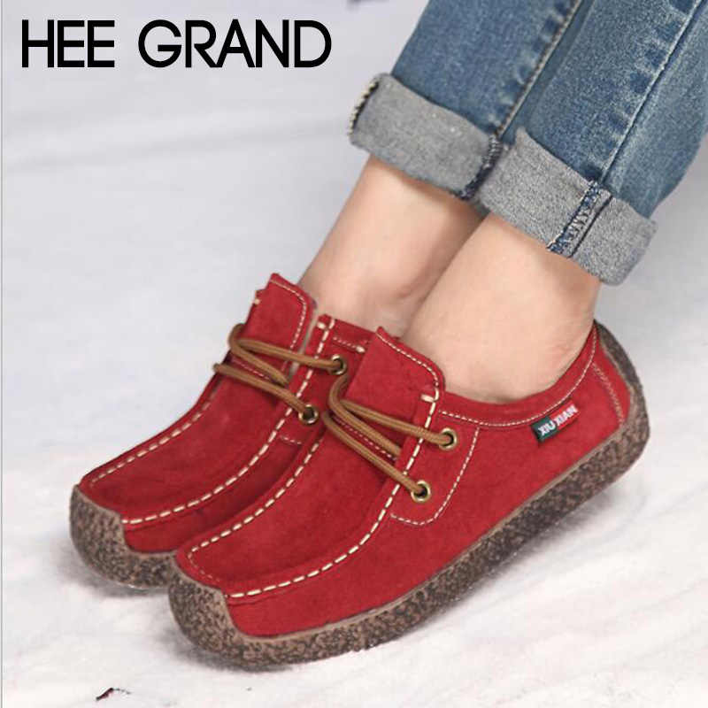 HEE GRAND décontracté plat femmes travail chaussures sans fourrure à lacets mocassins solides Creepers Mujer chaussures XWD7064
