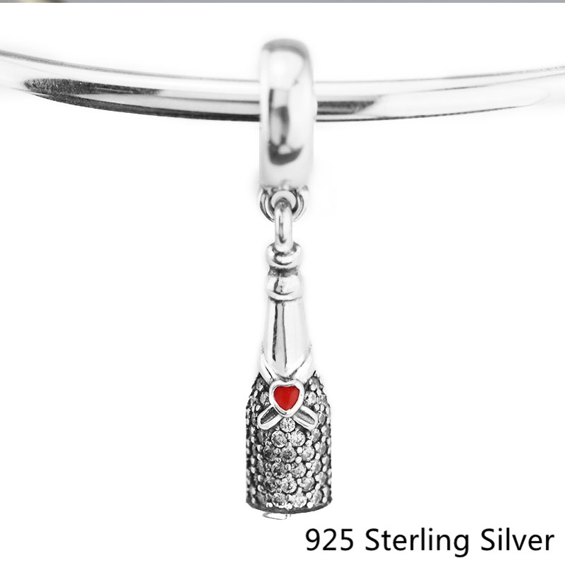 Fits Pandora Bracelet Charm Dangle Bead for Jewelry Making Celebration Time Bottle Charm 925 Sterling Silver Jewelry Women