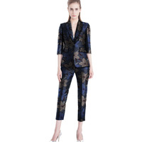 African fashion print women pants+blazers dashiki suits for ladies design suits slim fit suit customized African clothing