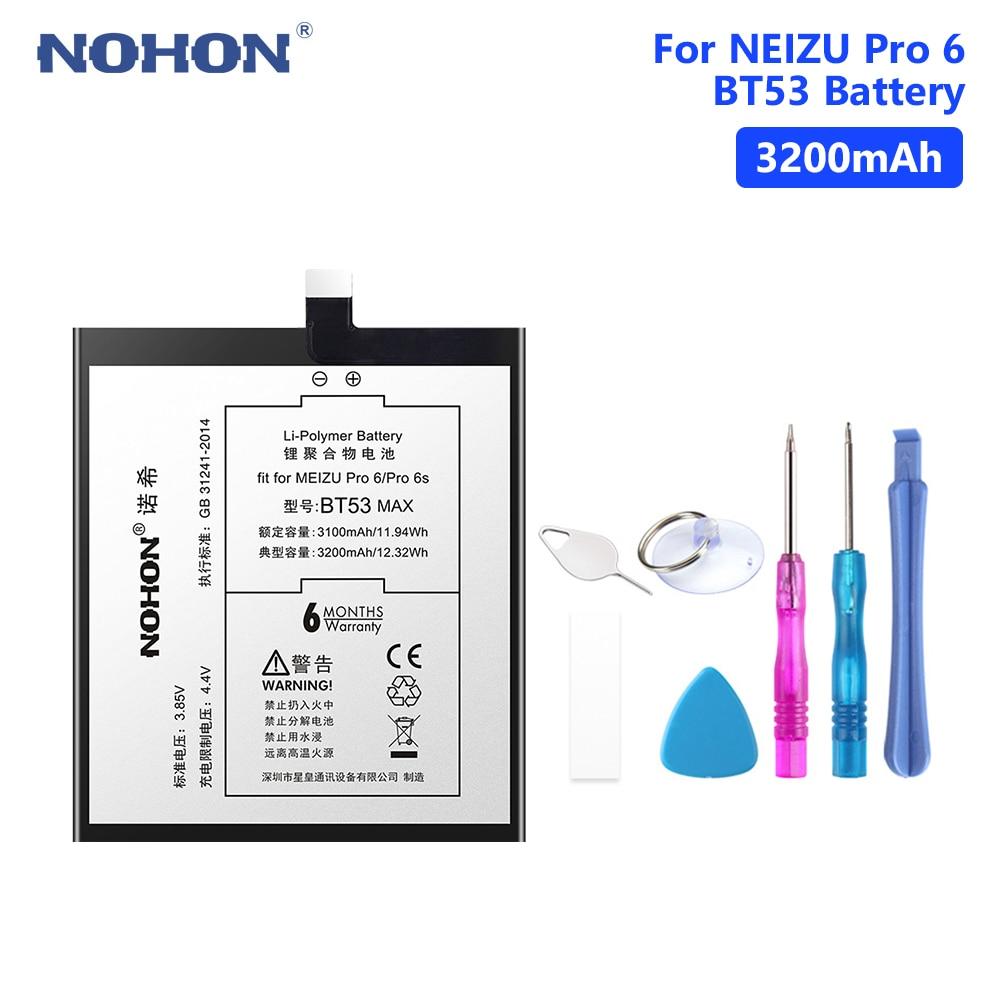 NOHON Bateria Para Meizu BT53 PRO PRO6 6 Substituição Da Bateria Original 2560 mAh bateria De Polímero De Lítio Bateria Do Telefone Móvel Ferramentas Gratuitas