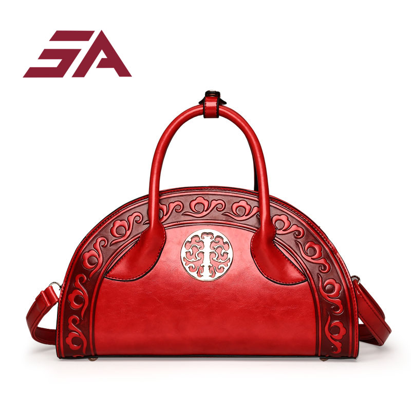 SA Bags for women 2018 Embossed PU Leather Women Handbag high Quality fan shaped Bag Vintage