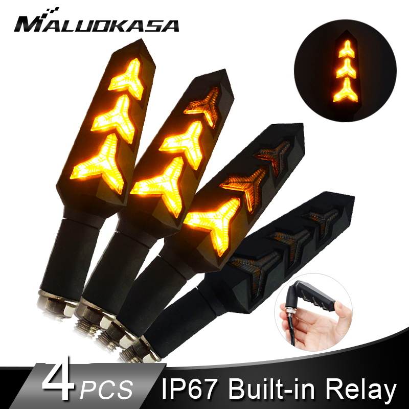 4PCS Motorcycle LED Turn Signals Flowing Water Blinker Flashing Lights Built Relay Bendable Auto Tail Flasher Indicator Lamp