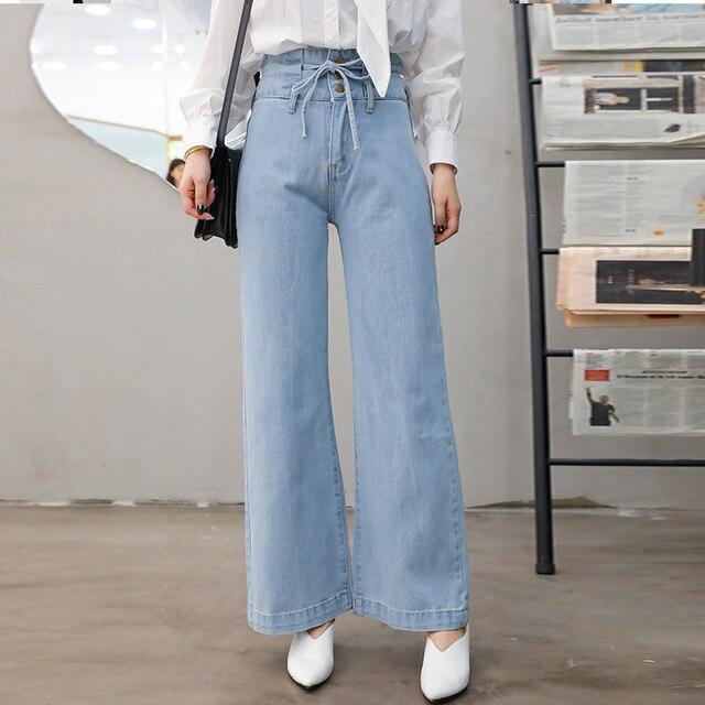 da7bd7556b96b High Waist Wide Leg Jeans For Women High Rise Mom Jeans Vintage Leg Wide  Baggy Jeans With Drawstring Fashion Denim Pant Ladies