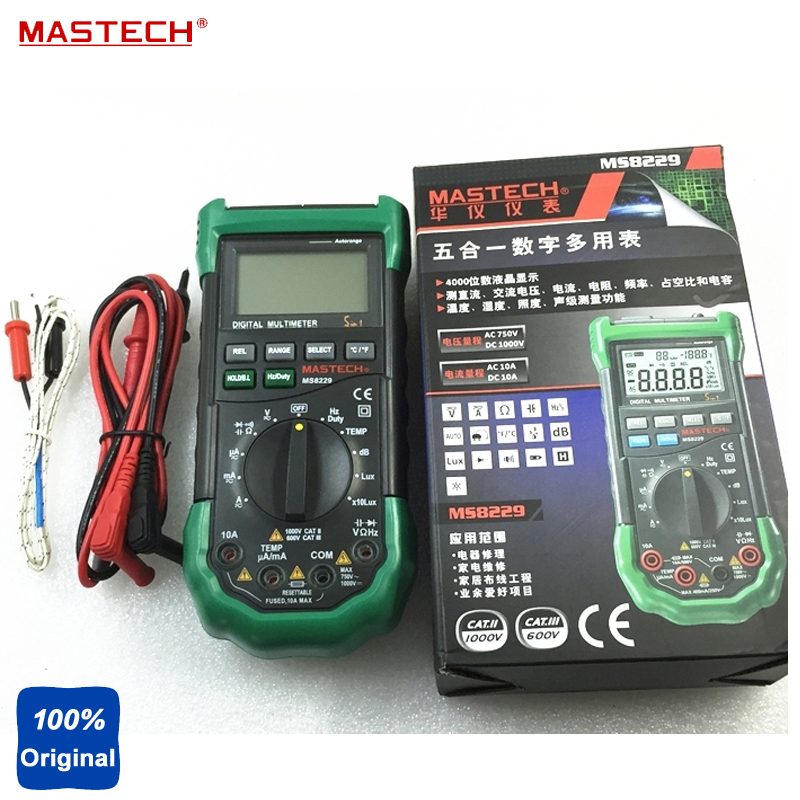 New Mastech MS8229 5in1 Auto range Digital Multimeter Lux Sound Level Temperature Humidity Tester Meter 4000 Counts mastech ms8260f 4000 counts auto range megohmmeter dmm frequency capacitor w ncv