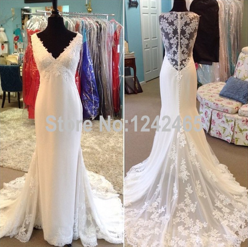 Aliexpress Buy 2016 New Coming Actual Image Mermaid Wedding Dress Straps V Neck Sweep Train Dream Gown With Appliqued MC238 From Reliable