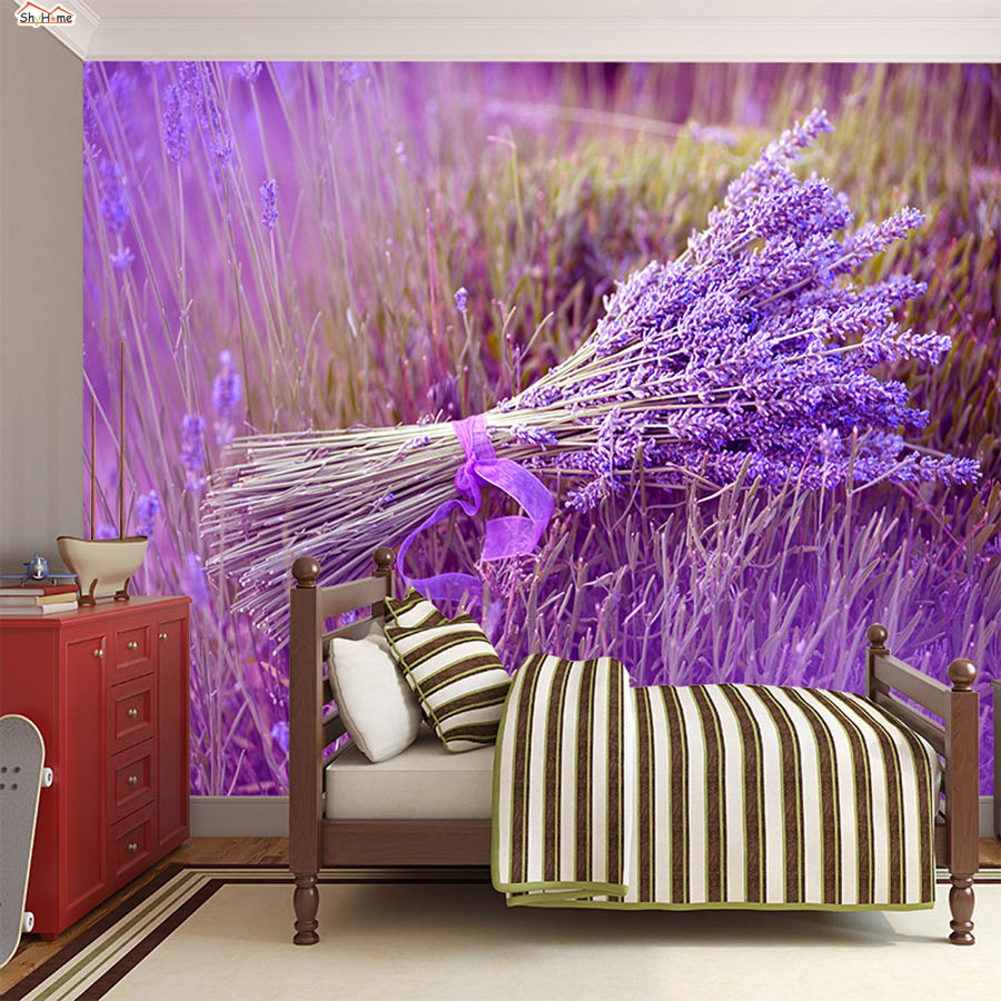 ShineHome-Romantic Lavender Windmill Natural Flower 3 d Room Photo Wallpaper Roll for 3d Livingroom Wall Paper Mural Rolls shinehome city building wallpaper black and white 3d murals for walls 3 d wallpapers for livingroom kids 3 d mural roll room