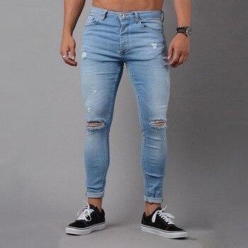 e6940a7ffa Oeak Jeans rasgados para hombres Mediados de cintura vaqueros Skinny de la calle  Pantalones Hombre Denim Jeans lápiz 2019 pantalones vaqueros hombre