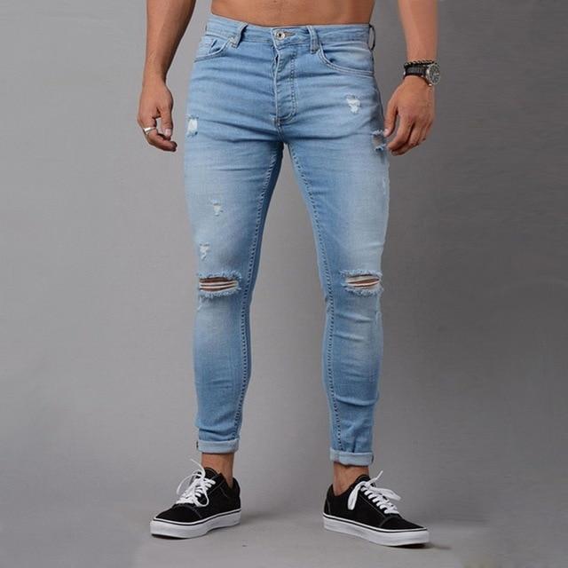 7d14c1998a Oeak Jeans rasgados para hombres Mediados de cintura vaqueros Skinny de la  calle Pantalones Hombre Denim