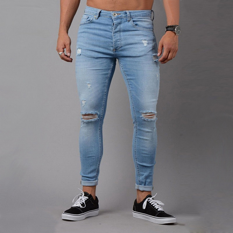 Oeak Ripped   Jeans   for Men Mid-waist Skinny   Jeans   High Street Trousers Male Denim Pencil   Jeans   Pants 2019 vaqueros hombre