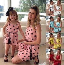 Summer Style Family Matching Outfits Mother Daughter Dresses Sleeveless Lace-up Dot Print A-Line Dress Mother&Kids Clothes 2019