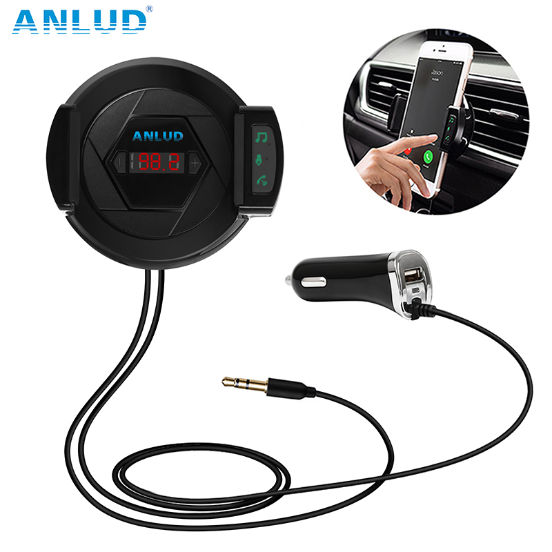 Bluetooth FM Transmitter Wireless Radio Adapter Car Kit Car Charger Hands Free Dudukan Telepon AUX Input Untuk iPhone Android MP3