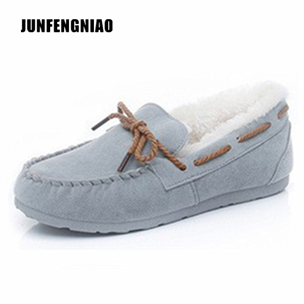 JUNFENGNIAO Women's Loafer Flats Shoes Plush Slip-On Round Toe Casual Plastic Cement Winter Fur Lined Suede Ladies Warm QX-808 fashion womens shoes warm winter cotton shoes tennis feminino casual girl shoes comfortable ladies flats long plush women flats