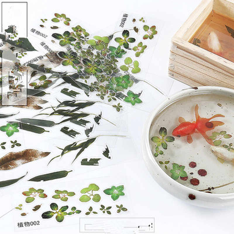 3 Pcs Plant Resin Stickers FillDecorative Sticker Fit Silicone Molds DIY Gold Fish Micro Landscape Scrapbooking StickersGift