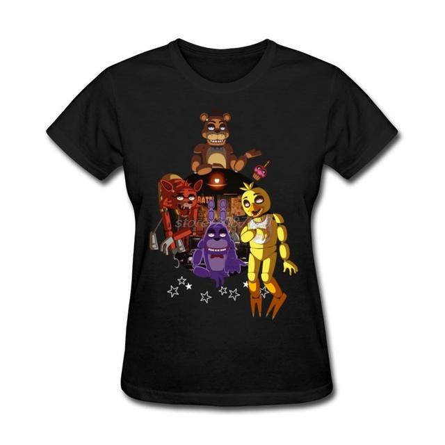 O Cuello de la Camiseta Para Mujer Personalizada FNAF La Banda Tee Nuevo Diseño Fresco de la Camiseta de Las Mujeres Camisas de Cuello Redondo
