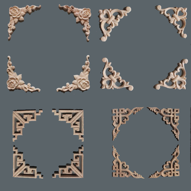10PCS Natural Wood Appliques Irregular Flower Wood Carving Decals  Decorative Wooden Mouldings For Cabinet Door Furniture