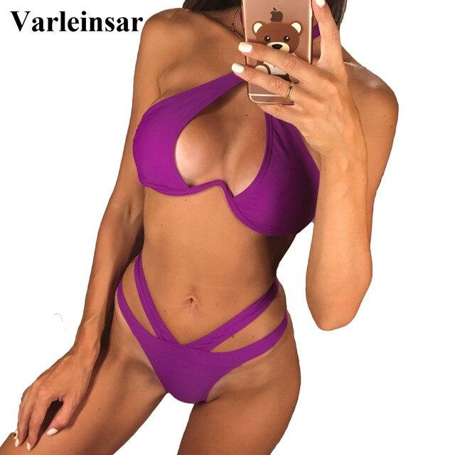 93c579f1fb Sexy V-bar Underwired Bikini 2019 Female Swimsuit Women Swimwear V shape  Wire Bikini set With Bra Bather Bathing Suit Swim V810