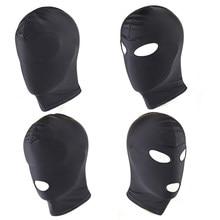 Máscara facial de spandex com boca aberta, brinquedo sexual para abertura da cabeça, balaclava, escravidão preto, máscara de esticar