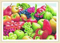 Envío Gratis 2016 Nuevos DIY Unfinshed Conde de Algodón Patrón de Bordado Kit de punto de Cruz de Impresión Serie de Frutas Deco de La Pared Regalo Único