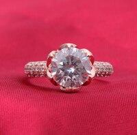 6 карат SONA синтетический бриллиан модное кольцо из стерлингового серебра 925 пробы позолоченное женское кольцо лотоса большое кольцо (DFE)