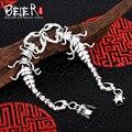 Beier 925 prata esterlina pulseira cadeia mão do vintage centipede chain link animal pulseira de homens acessórios jóias sctyl0150