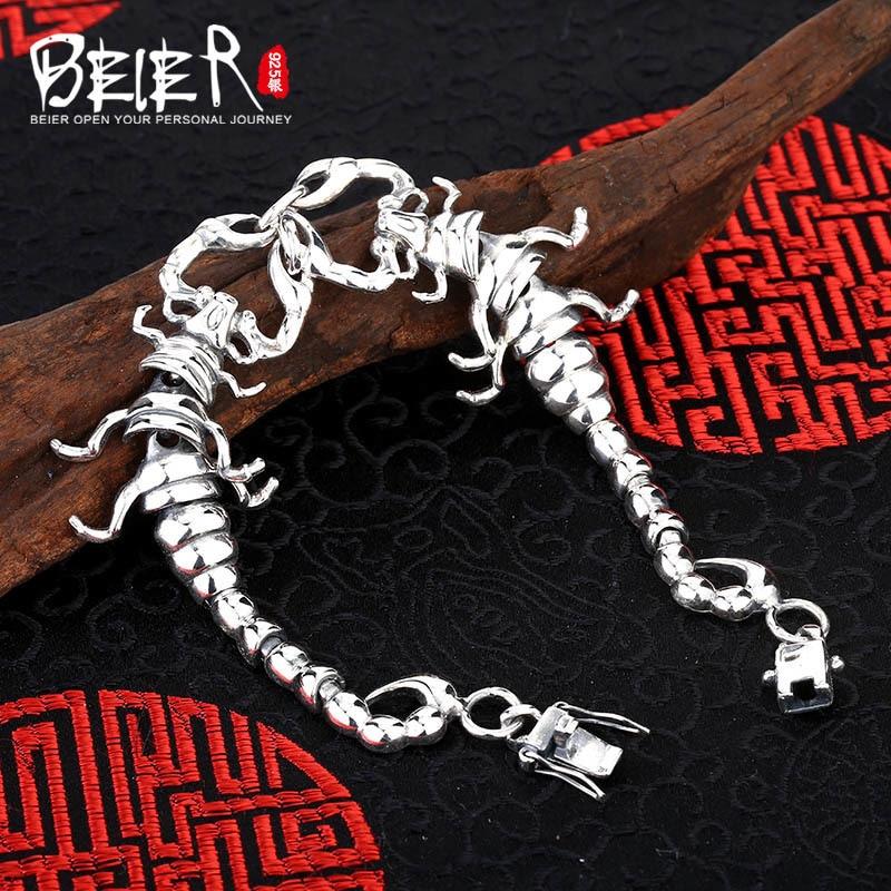 Vintage hand chain Beier 925 sterling silver bracelet centipede link chain animal bracelet men accessories Jewelry SCTYL0150 цены онлайн